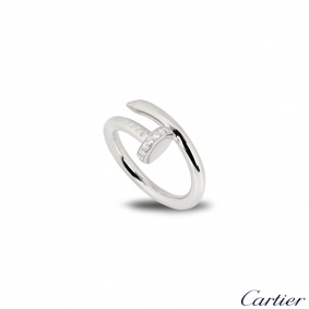 Cartier White Gold Diamond Juste Un Clou Ring Size 52 B4092700